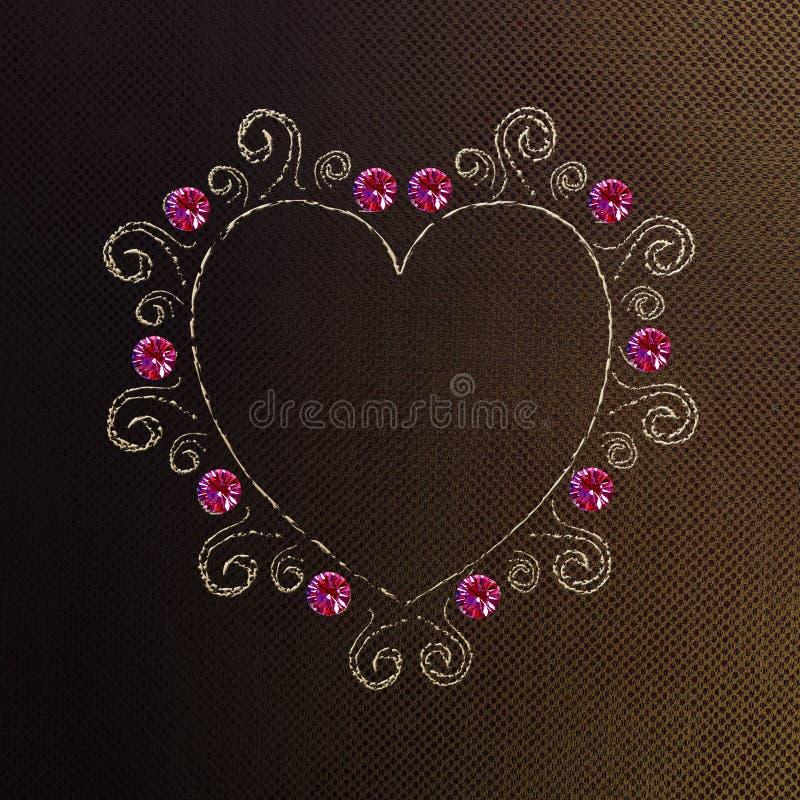 Ραμμένη καρδιά στο υλικό για τα στοιχεία σχεδίου μόδας στοκ εικόνα