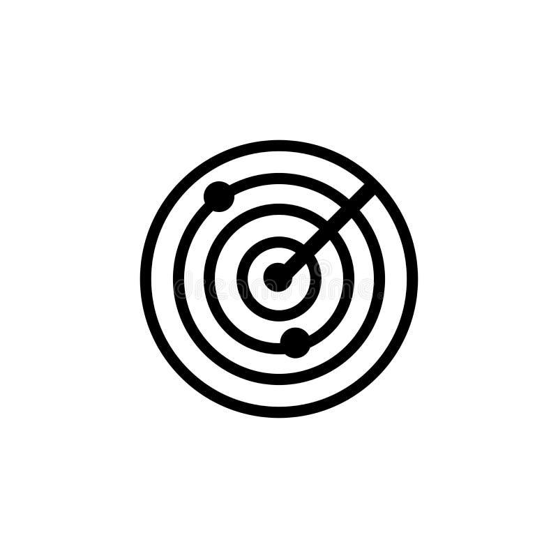 Ραντάρ σημάδι και σύμβολο εικονιδίων διανυσματικό που απομονώνονται στο άσπρο υπόβαθρο, έννοια λογότυπων ραντάρ ελεύθερη απεικόνιση δικαιώματος