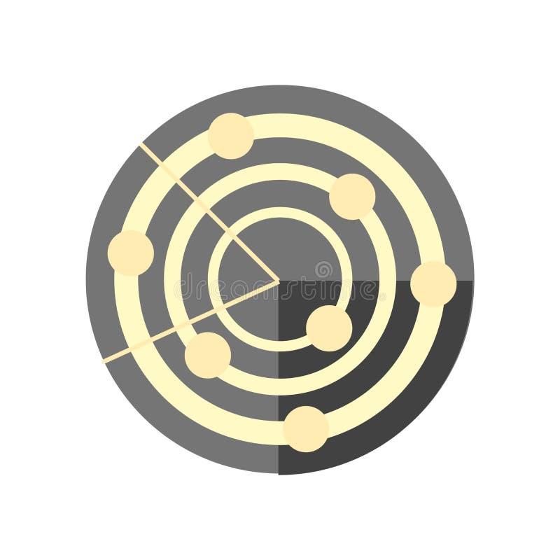 Ραντάρ σημάδι και σύμβολο εικονιδίων διανυσματικό που απομονώνονται στο άσπρο υπόβαθρο, έννοια λογότυπων ραντάρ απεικόνιση αποθεμάτων