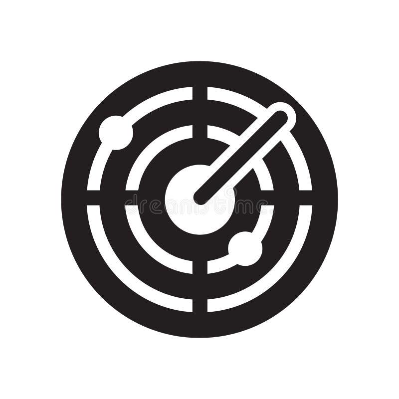Ραντάρ σημάδι και σύμβολο εικονιδίων διανυσματικό που απομονώνονται στο άσπρο υπόβαθρο, έννοια λογότυπων ραντάρ διανυσματική απεικόνιση