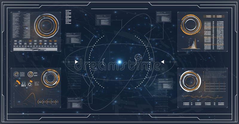 Ραντάρ Hud Φουτουριστικό σχέδιο τεχνολογίας διεπαφών Διανυσματική απεικόνιση οργάνων ελέγχου υπολογιστών Απεικόνιση εικονιδίων πα διανυσματική απεικόνιση