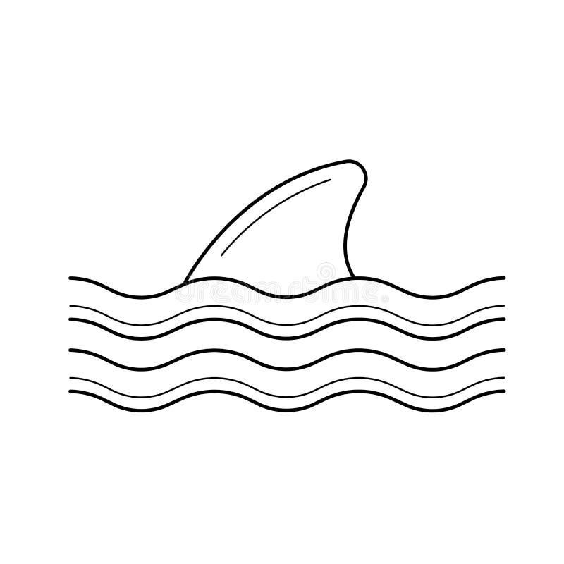 Ραχιαίο πτερύγιο καρχαριών ανωτέρω - εικονίδιο ίσαλων γραμμών διανυσματική απεικόνιση