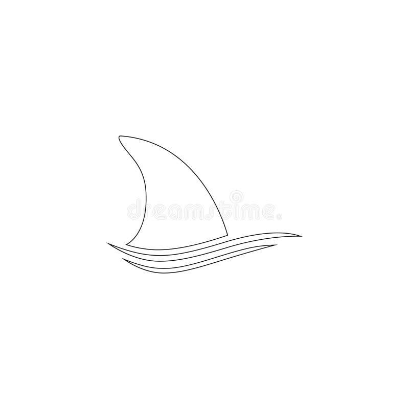 Ραχιαίο πτερύγιο καρχαριών επίπεδο διανυσματικό εικονίδιο διανυσματική απεικόνιση