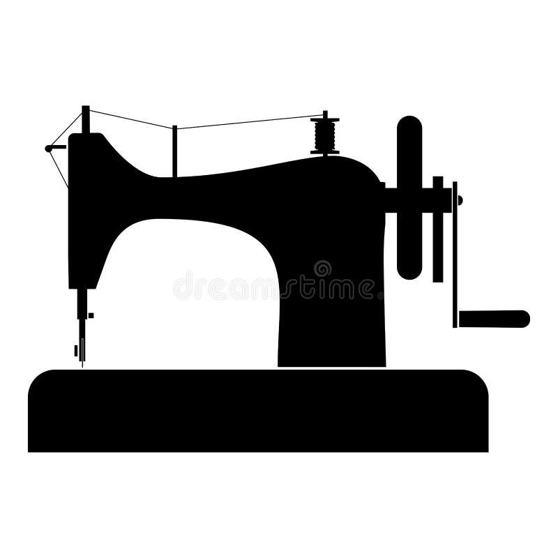 Ραψίματος μηχανών ραψίματος μηχανών ραφτών εξοπλισμού εκλεκτής ποιότητας εικονιδίων μαύρη χρώματος διανυσματική εικόνα ύφους απει διανυσματική απεικόνιση
