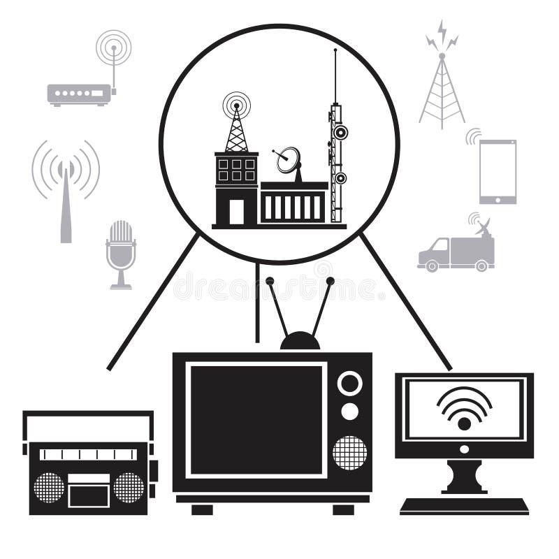 Ραδιο Διαδίκτυο σήμα μετάδοσης TV απεικόνιση αποθεμάτων