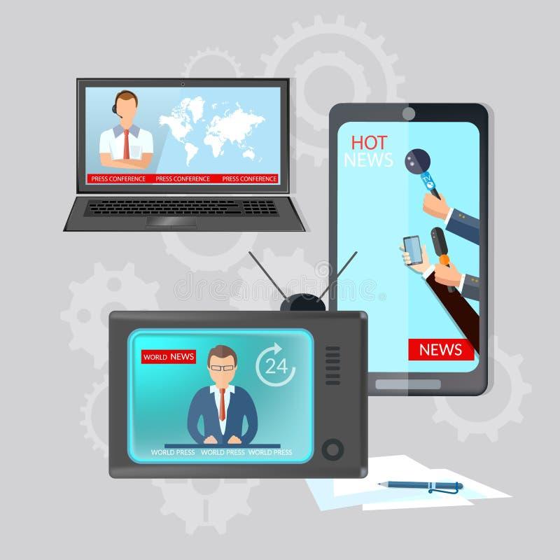 Ραδιο ζωντανές ειδήσεις TV τηλεπικοινωνιών παγκόσμιων ειδήσεων σφαιρικές σε απευθείας σύνδεση διανυσματική απεικόνιση