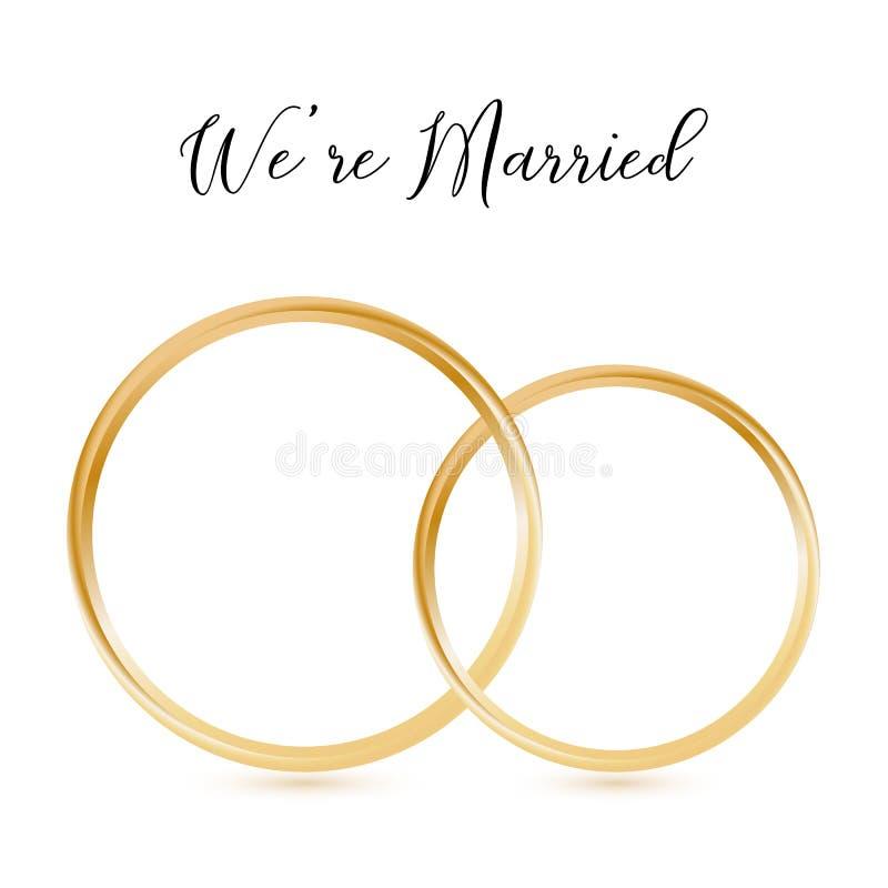 Ρεαλιστικά γαμήλια χρυσά δαχτυλίδια Isolted με την εγγραφή ΕΙΜΑΣΤΕ ΠΑΝΤΡΕΜΕΝΟΙ απεικόνιση αποθεμάτων