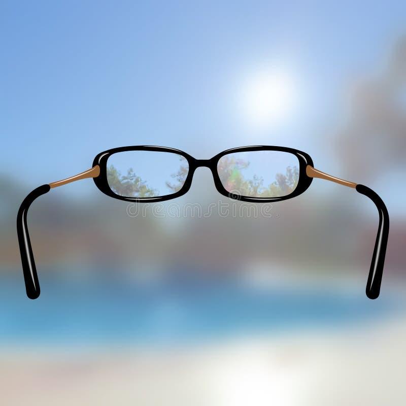 Ρεαλιστικά γυαλιά για τη φτωχή όραση θολωμένη εικόνα Επίδραση εστίασης ελαφριά διάθλαση Για τα καταστήματα οπτικής διανυσματική απεικόνιση