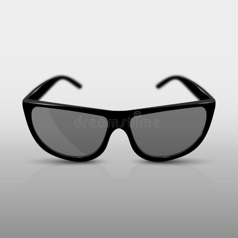 Ρεαλιστικά γυαλιά ηλίου, ή τρισδιάστατα γυαλιά για τον κινηματογράφο Με τη σκιά, την αντανάκλαση και τη συγκέντρωση της επίδρασης ελεύθερη απεικόνιση δικαιώματος