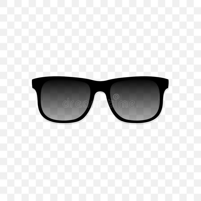Ρεαλιστικά γυαλιά ηλίου με ένα διαφανές μαύρο γυαλί σε ένα διαφανές υπόβαθρο Προστασία από τον ήλιο και την υπεριώδη ακτίνα ελεύθερη απεικόνιση δικαιώματος