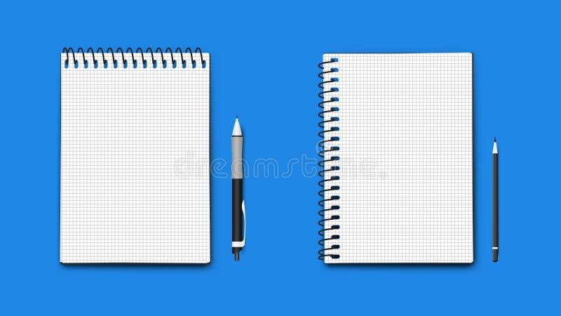 Ρεαλιστικά διανυσματικά τέλεια σημειωματάρια μεγέθους εγγράφου A4, οριζόντιος και κάθετος με το στυλό και το μολύβι Απομονωμένος  απεικόνιση αποθεμάτων