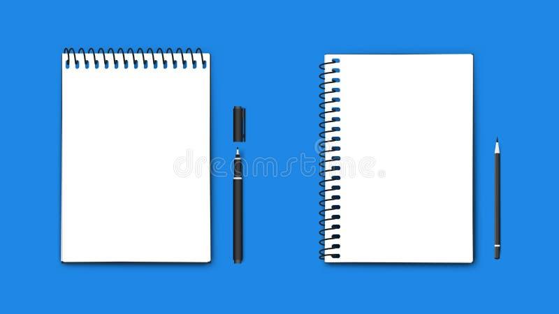 Ρεαλιστικά διανυσματικά τέλεια σημειωματάρια μεγέθους εγγράφου A4, οριζόντιος και κάθετος με το στυλό και το μολύβι Απομονωμένος  ελεύθερη απεικόνιση δικαιώματος