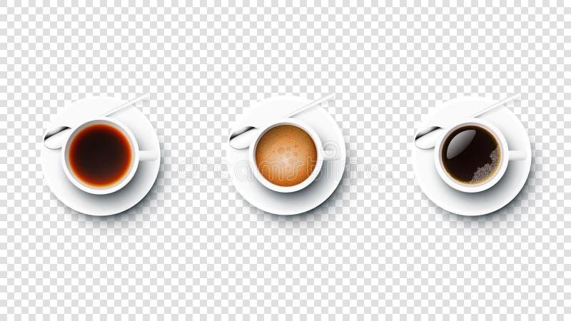 Ρεαλιστικά διανυσματικά τέλεια φλιτζάνια του καφέ και τσάι Americano, Espresso, μαύρος καφές Απομονωμένος στο μπλε υπόβαθρο σύγχρ ελεύθερη απεικόνιση δικαιώματος