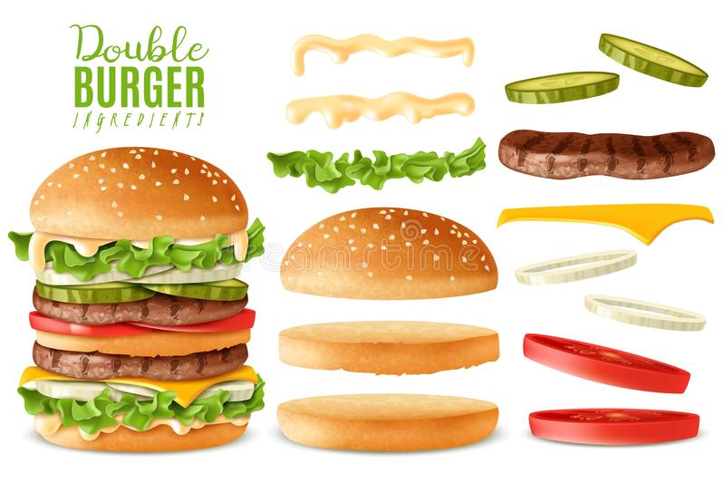 Ρεαλιστικά διπλά burger στοιχεία καθορισμένα απεικόνιση αποθεμάτων