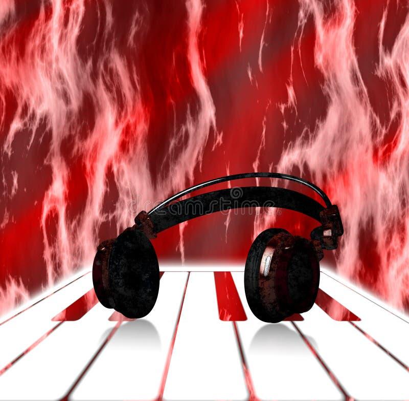Ρεαλιστικά κόκκινα ακουστικά στο πιάνο με το υπόβαθρο φλογών ελεύθερη απεικόνιση δικαιώματος