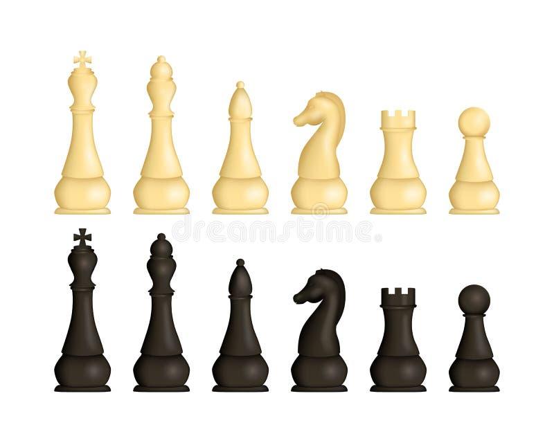 Ρεαλιστικά λεπτομερή τρισδιάστατα ξύλινα κομμάτια σκακιού καθορισμένα διάνυσμα ελεύθερη απεικόνιση δικαιώματος