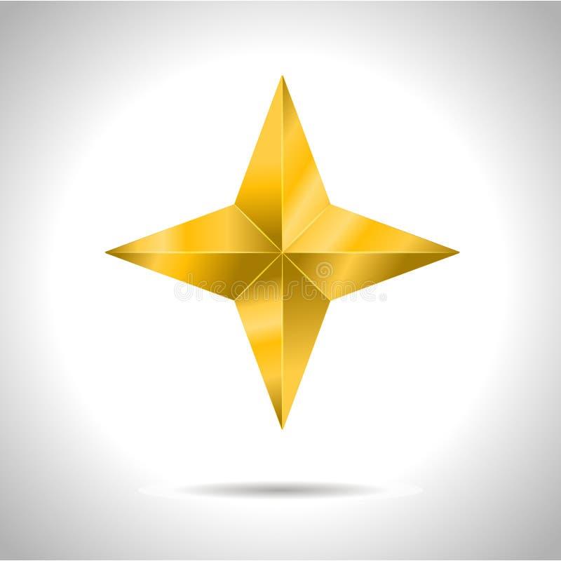 Ρεαλιστικά μεταλλικά χρυσά απομονωμένα κίτρινα τρισδιάστατα Χριστούγεννα αστεριών ελεύθερη απεικόνιση δικαιώματος