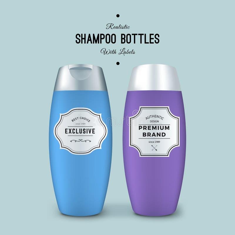Ρεαλιστικά μπουκάλια σαμπουάν με τις ετικέτες Διανυσματική συσκευασία προτύπων Σχέδιο συσκευασίας προϊόντων Χλεύη πλαστικών εμπορ διανυσματική απεικόνιση