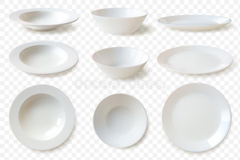 Ρεαλιστικά πιάτα καθορισμένα το σύνολο εννέα απομόνωσε το άσπρο διανυσματικό πρότυπο πιάτων πορσελάνης σε ένα ρεαλιστικό ύφος σε  απεικόνιση αποθεμάτων