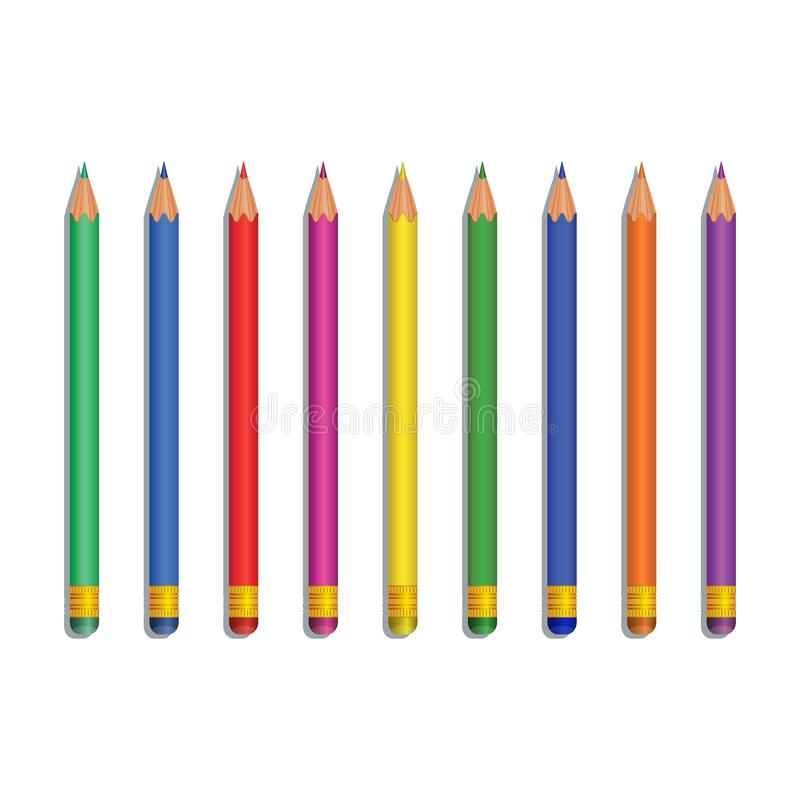 Ρεαλιστικά πολύχρωμα μολύβια που απομονώνονται στο άσπρο υπόβαθρο Στοιχείο σχεδίου για τα χαρτικά, πίσω στις σχολικές προμήθειες, ελεύθερη απεικόνιση δικαιώματος