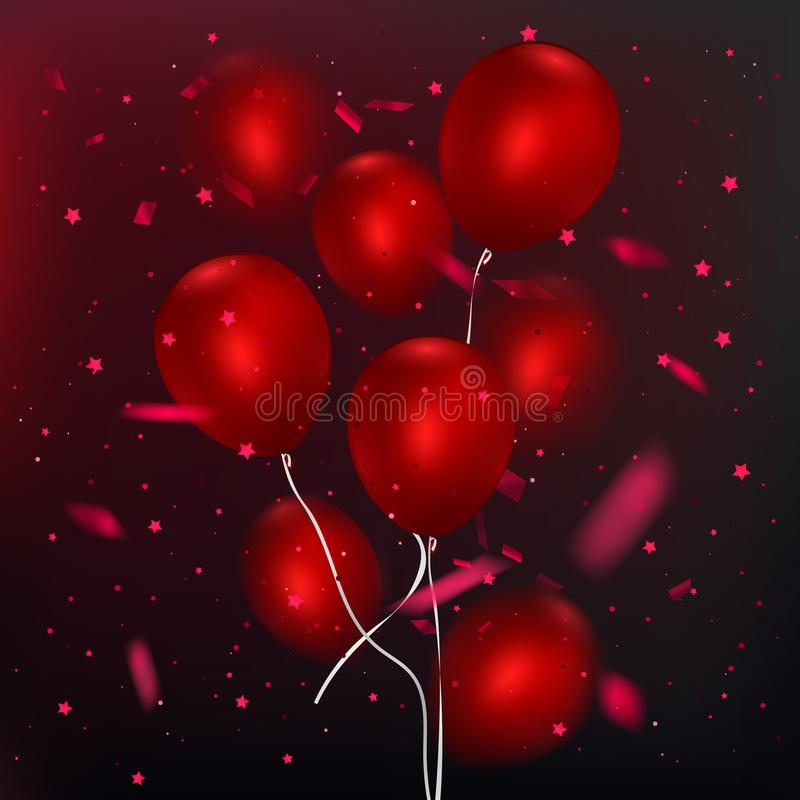 Ρεαλιστικά στιλπνά μπαλόνια στο σκοτεινό υπόβαθρο, κόκκινη δέσμη μπαλονιών Στοιχείο διακοσμήσεων για το σχέδιο πρόσκλησης γεγονότ ελεύθερη απεικόνιση δικαιώματος