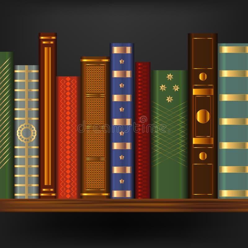 Ρεαλιστικά τρισδιάστατα λεπτομερή εκλεκτής ποιότητας παλαιά βιβλία στο ράφι διάνυσμα απεικόνιση αποθεμάτων