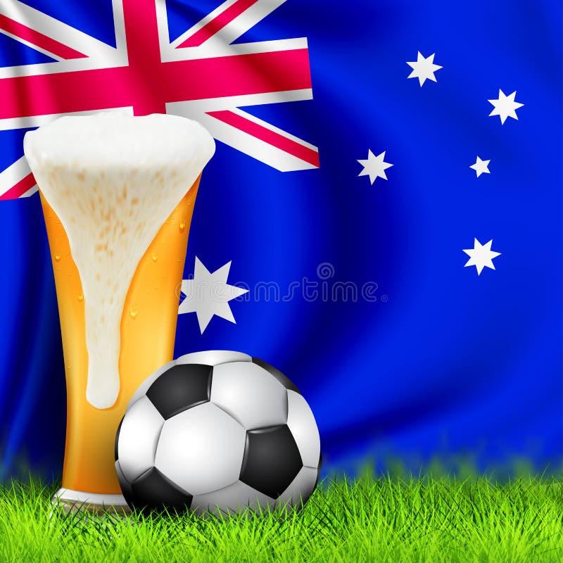 Ρεαλιστικά τρισδιάστατα σφαίρα ποδοσφαίρου και ποτήρι της μπύρας στη χλόη με την εθνική κυματίζοντας σημαία της Αυστραλίας Σχέδιο απεικόνιση αποθεμάτων