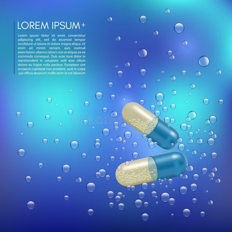 Ρεαλιστικά τρισδιάστατα χάπια στο νερό με τις φυσαλίδες Φαρμακείο, αντιβιοτικό, βιταμίνες, ταμπλέτα, κάψα Ιατρική διάνυσμα ελεύθερη απεικόνιση δικαιώματος
