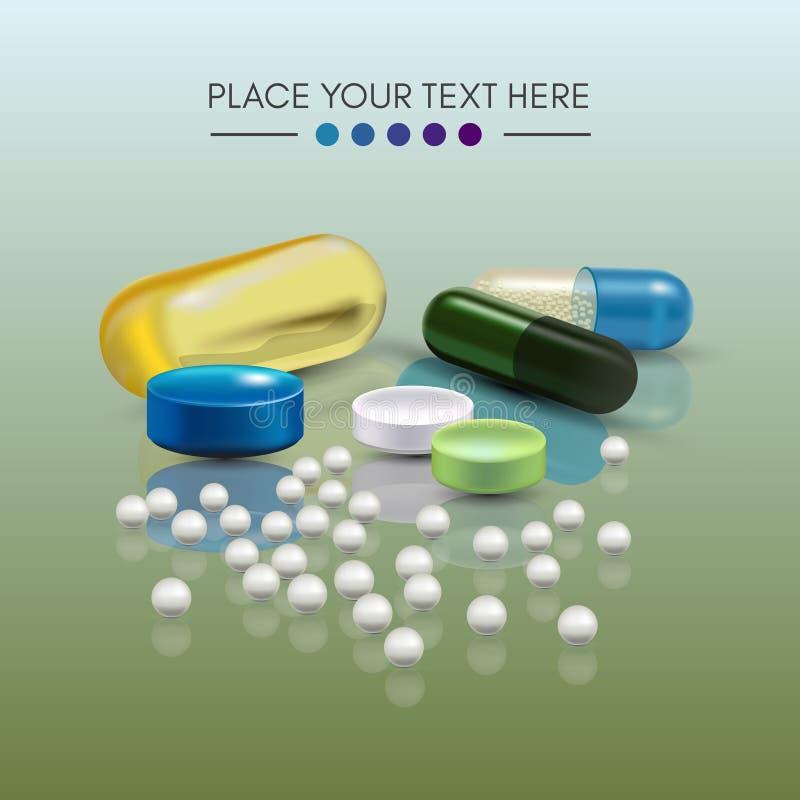 Ρεαλιστικά τρισδιάστατα χάπια Φαρμακείο, αντιβιοτικό, βιταμίνες, ταμπλέτα, κάψα Ιατρική Διανυσματική απεικόνιση των ταμπλετών και διανυσματική απεικόνιση