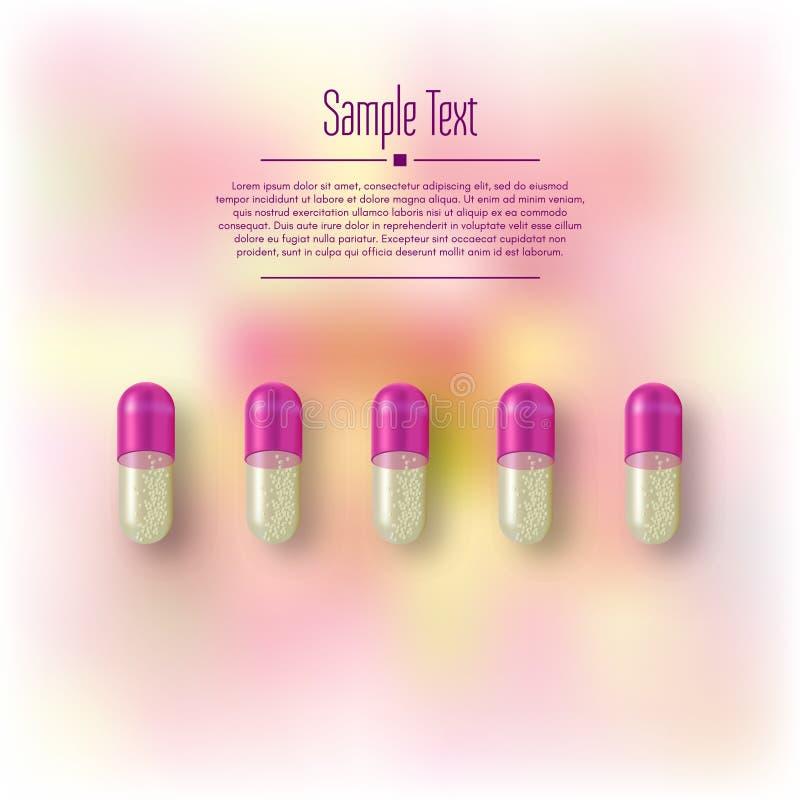 Ρεαλιστικά τρισδιάστατα χάπια Φαρμακείο, αντιβιοτικό, βιταμίνες, ταμπλέτα, κάψα Ιατρική Διανυσματική απεικόνιση των ταμπλετών και ελεύθερη απεικόνιση δικαιώματος