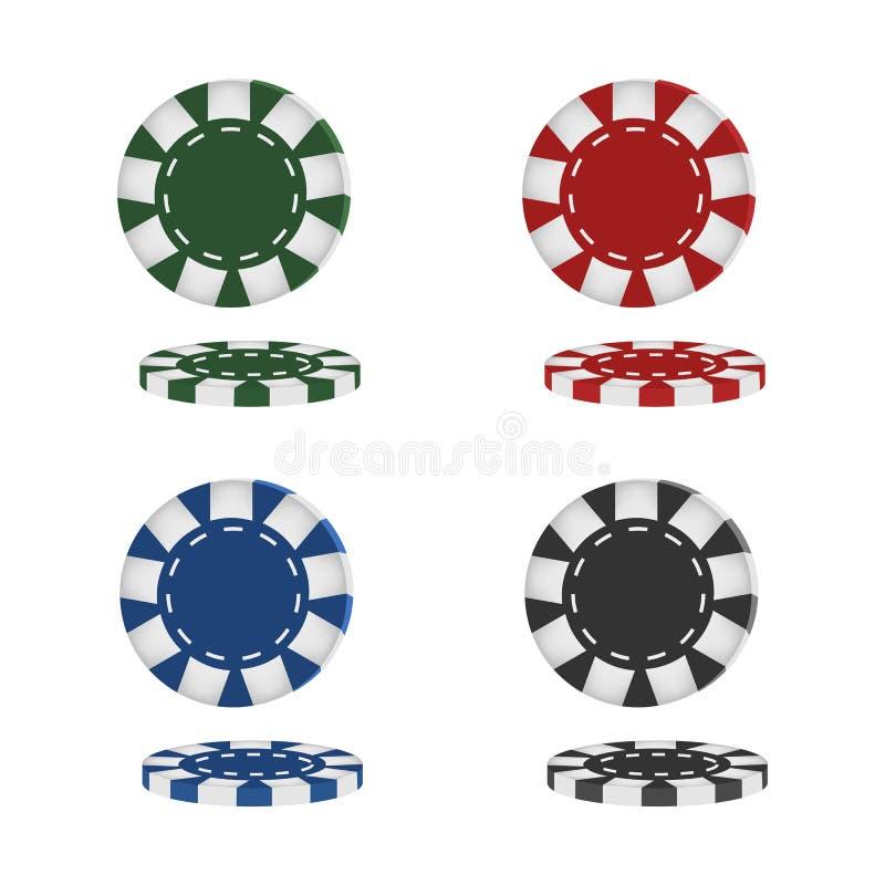Ρεαλιστικά τσιπ πόκερ που απομονώνονται στο άσπρο υπόβαθρο r απεικόνιση αποθεμάτων