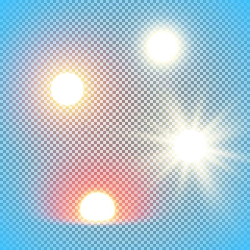 Ρεαλιστικές διανυσματικές απεικονίσεις ήλιων που απομονώνονται στο πλέγμα διαφάνειας, μεσημέρι, πρωί, αύξηση του ήλιου βραδιού ελεύθερη απεικόνιση δικαιώματος