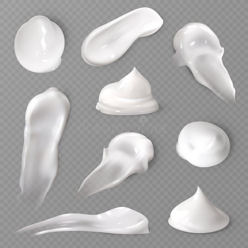 Ρεαλιστικές καλλυντικές κηλίδες κρέμας Η άσπρη κρεμώδης πτώση skincare αποβουτυρώνει σύσταση κηλίδων λοσιόν προϊόντων διανυσματικ απεικόνιση αποθεμάτων