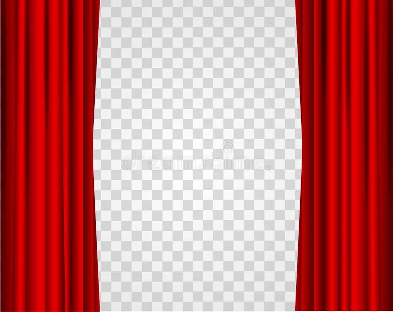Ρεαλιστικές κόκκινες ανοιγμένες σκηνικές κουρτίνες σε ένα διαφανές υπόβαθρο διάνυσμα διανυσματική απεικόνιση