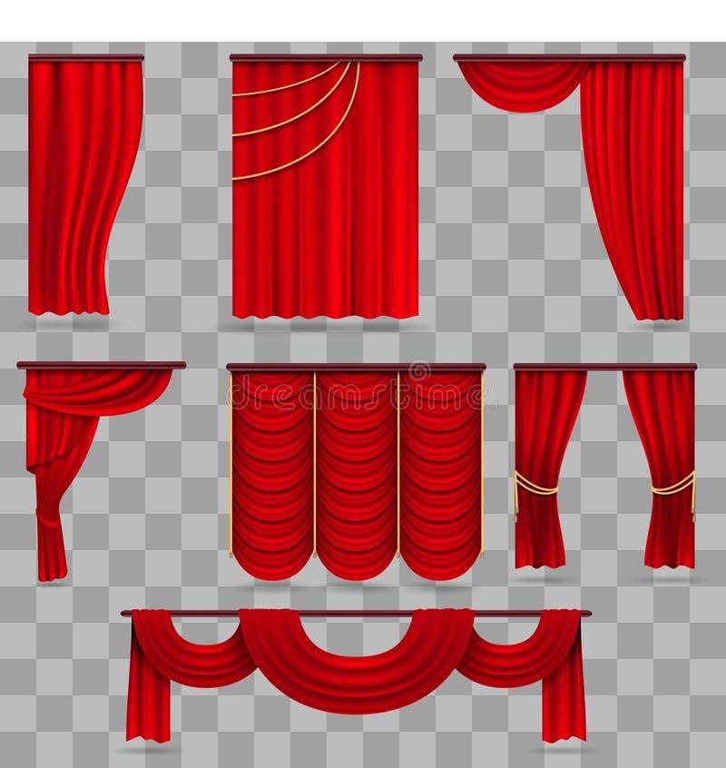 Ρεαλιστικές κόκκινες σκηνικές κουρτίνες βελούδου, ερυθρά υφασματεμπορία θεάτρων στο διαφανές υπόβαθρο απεικόνιση αποθεμάτων
