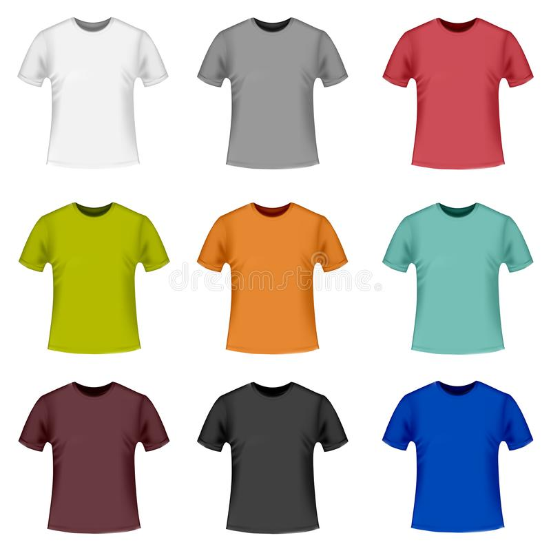 Ρεαλιστικές λεπτομερείς τρισδιάστατες μπλούζες χρώματος απεικόνιση αποθεμάτων