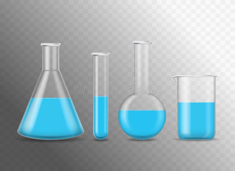 Ρεαλιστικές λεπτομερείς τρισδιάστατες χημικές φιάλες γυαλιού καθορισμένες διάνυσμα απεικόνιση αποθεμάτων