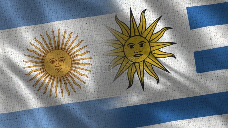 Ρεαλιστικές μισές σημαίες της Αργεντινής και της Ουρουγουάης από κοινού διανυσματική απεικόνιση