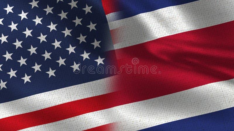 Ρεαλιστικές μισές σημαίες των ΗΠΑ και Kosta Rica από κοινού στοκ εικόνες με δικαίωμα ελεύθερης χρήσης