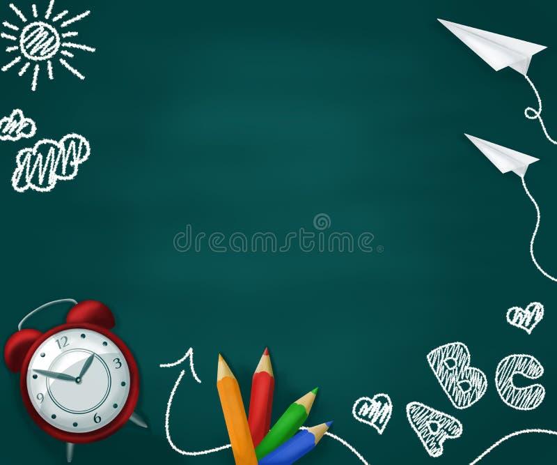 Ρεαλιστικές σχολικές προμήθειες σε έναν πράσινο πίνακα κιμωλίας ελεύθερη απεικόνιση δικαιώματος