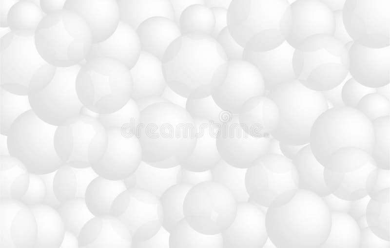 Ρεαλιστικές τρισδιάστατες άσπρες σφαίρες, υπόβαθρο μπαλονιών, έμβλημα για την παρουσίαση, προσγειωμένος σελίδα, ιστοχώρος ελεύθερη απεικόνιση δικαιώματος