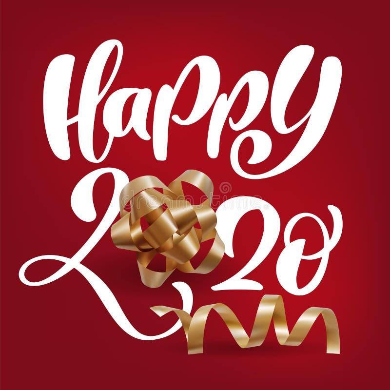 Ρεαλιστικές Happy 2020 calligraphic white number and festive spiral ribbons σε κόκκινο φόντο Απεικόνιση διανυσματικών αργιών ελεύθερη απεικόνιση δικαιώματος