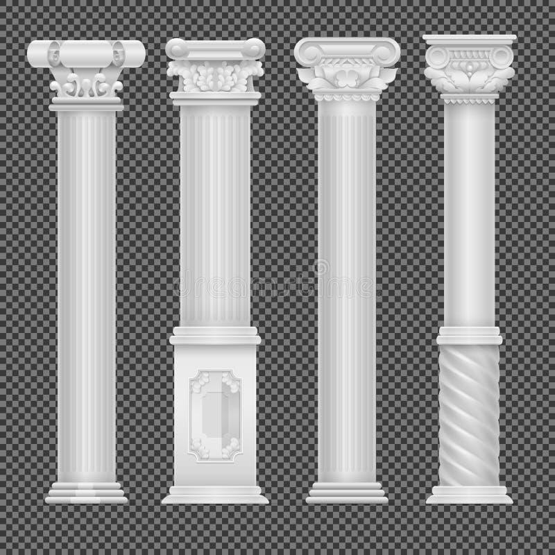 Ρεαλιστική άσπρη παλαιά ρωμαϊκή στήλη στο διαφανές υπόβαθρο ελεύθερη απεικόνιση δικαιώματος