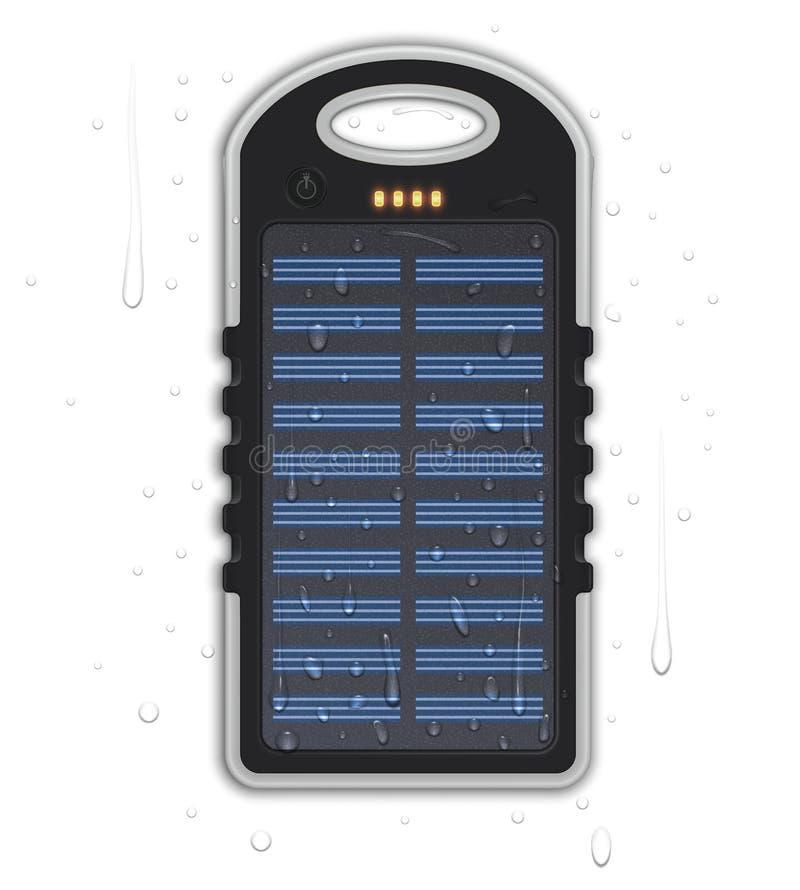 Ρεαλιστική αδιάβροχη τράπεζα δύναμης με το ηλιακό κύτταρο ελεύθερη απεικόνιση δικαιώματος