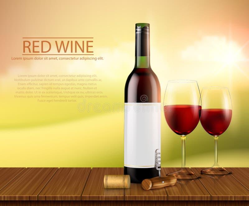 Ρεαλιστική απεικόνιση, αφίσα με το κρασί γυαλιού bottl και γυαλιά με το κόκκινο κρασί διανυσματική απεικόνιση