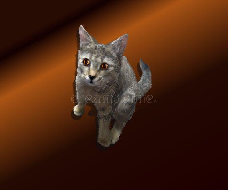 Ρεαλιστική απεικόνιση ενός γατακιού σε ένα καφετί υπόβαθρο στοκ φωτογραφία