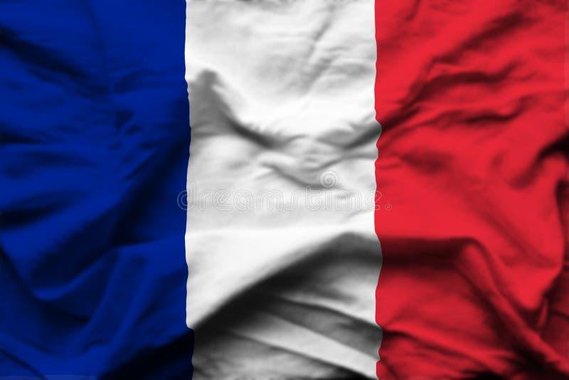 Ρεαλιστική απεικόνιση σημαιών της Γαλλίας διανυσματική απεικόνιση