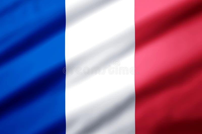 Ρεαλιστική απεικόνιση σημαιών της Γαλλίας απεικόνιση αποθεμάτων