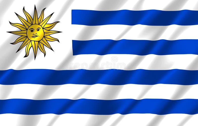 Ρεαλιστική απεικόνιση σημαιών της Ουρουγουάης ελεύθερη απεικόνιση δικαιώματος