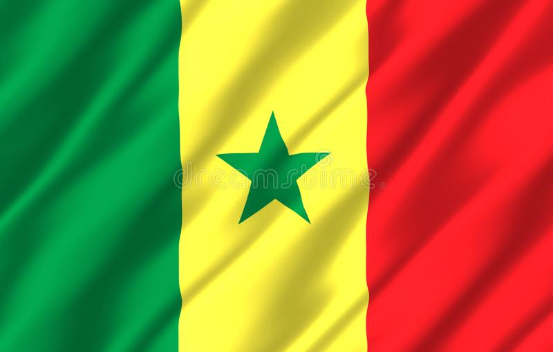 Ρεαλιστική απεικόνιση σημαιών της Σενεγάλης ελεύθερη απεικόνιση δικαιώματος